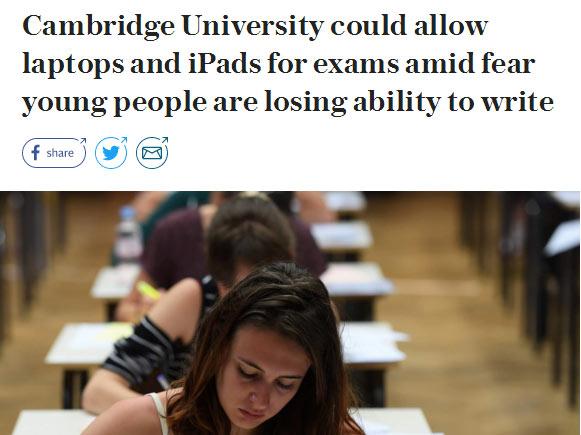 剑桥大学考试改革:使用iPad或便携电脑进行考试?!