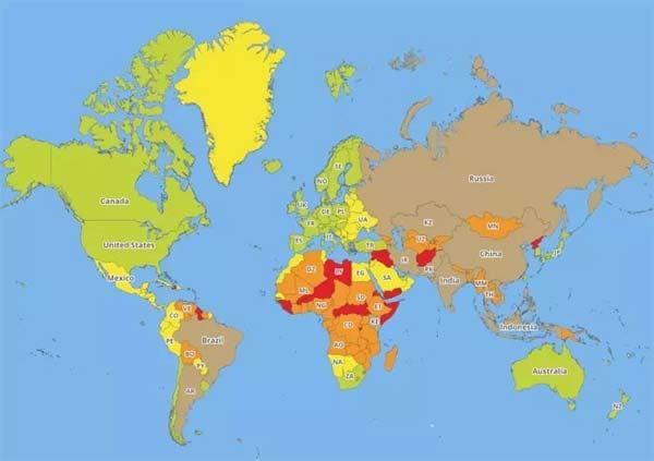 一,世界旅游安全地图