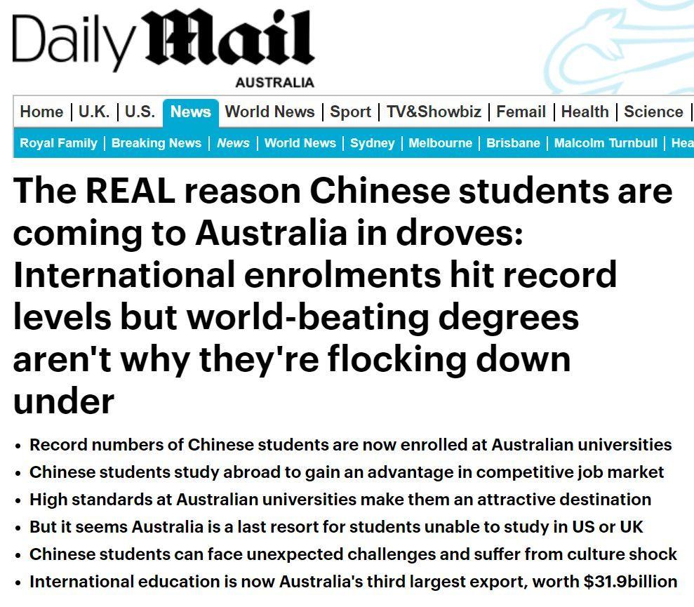 2018中国留学生赴澳人数创历史新高,贡献319亿澳元!