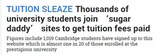 """惊!英国数万名学生求包养!""""Sugar School""""排行榜上牛剑居然都在?!"""