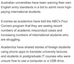 澳洲官媒表示:中国留学生甚至不会说任何英文!
