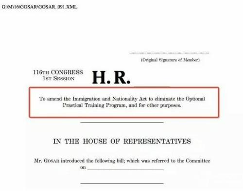 美议员议案:彻底取消OPT签证!终止留学生留美工作?