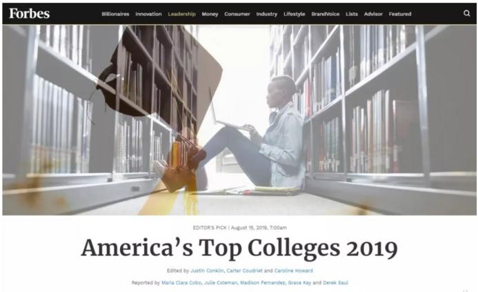2019年Forbes全美最佳大学排名,一个关注投资回报率的榜单!