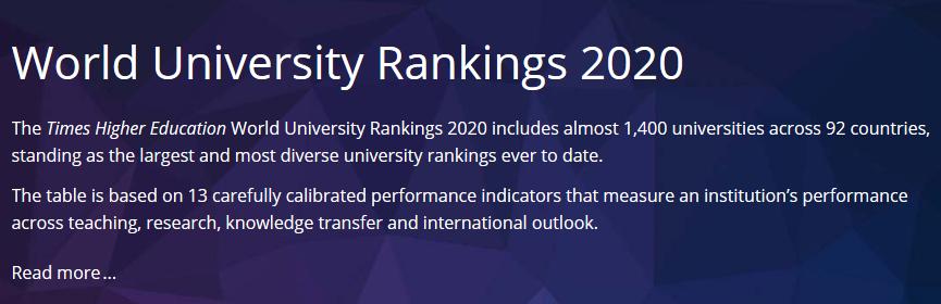 2020泰晤士高等教育THE世界大学排名:加州理工上位排名老二!