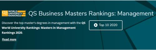 2020年QS商科碩士—管理碩士排名:巴黎高等商學院蟬聯第一!