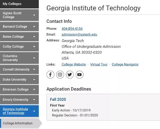 10月17日喬治亞理工、北卡教堂山的EA申請截止了!