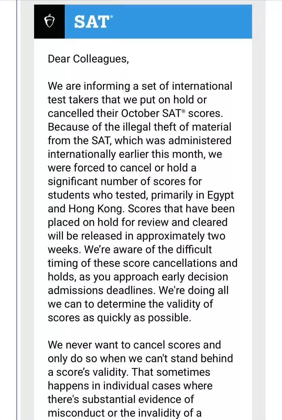 CB取消10月SAT香港考场成绩?别再以讹传讹了!