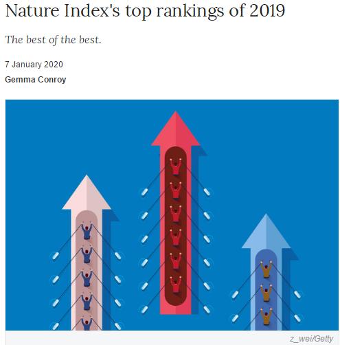 最新!英国《自然》指数2019年度最高排名!