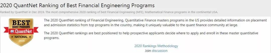 2020年QuantNet金融工程排名:普林斯顿大学继续蝉联!
