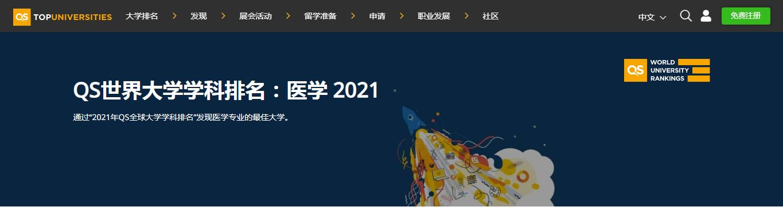 2021QS世界大学学科排名:医学专业排名