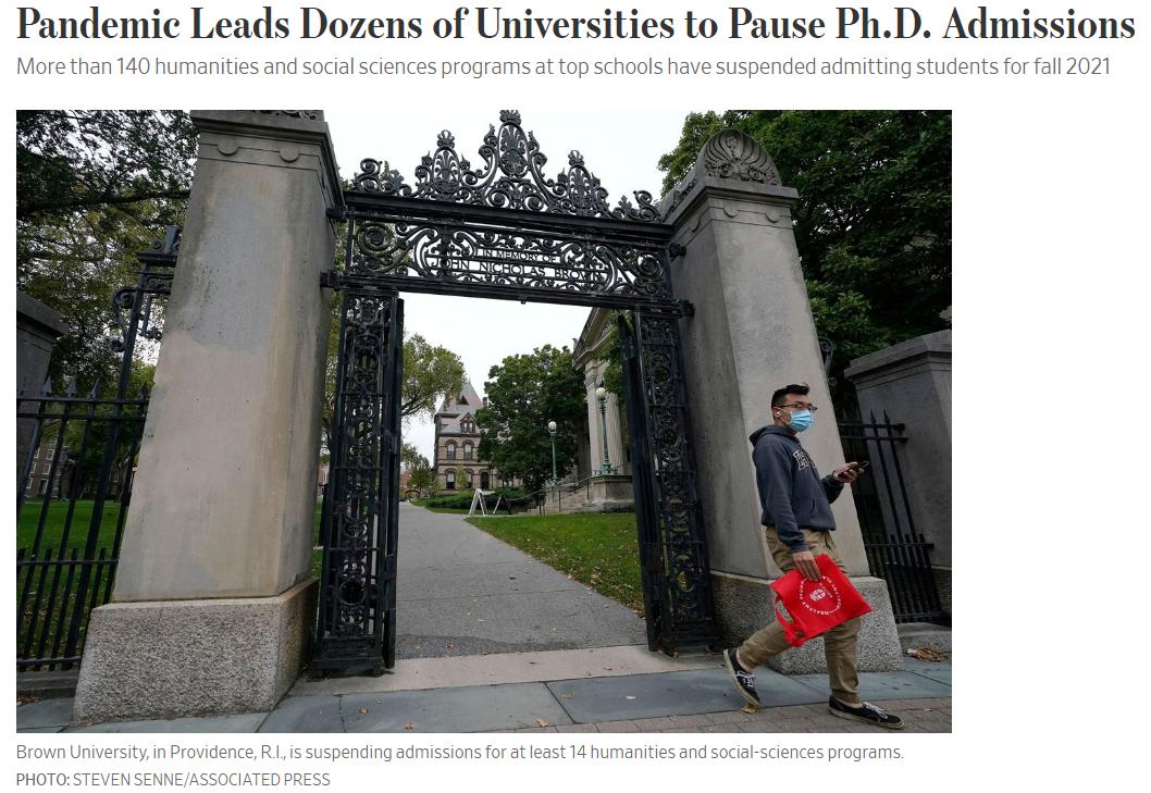 目前美国数十所精英大学已经暂停了140多个人文社科类博士项目在今年乃至明年的招生。