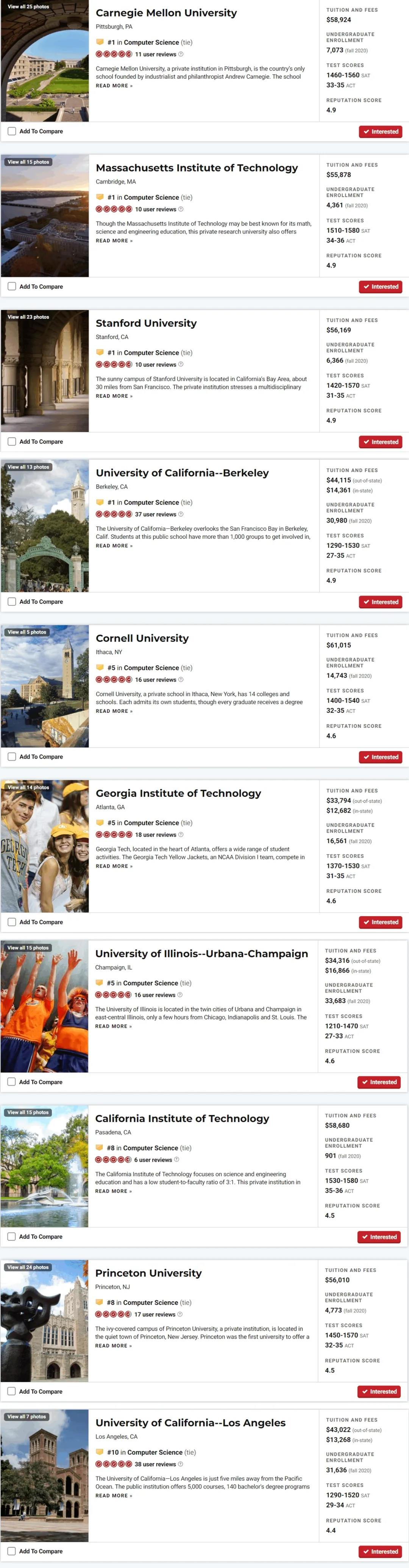 美国计算机科学院校排名